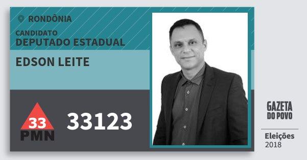 Santinho Edson Leite 33123 (PMN) Deputado Estadual | Rondônia | Eleições 2018