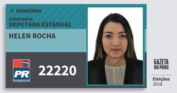 Santinho Helen Rocha 22220 (PR) Deputado Estadual | Rondônia | Eleições 2018