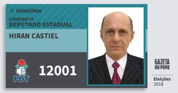 Santinho Hiran Castiel 12001 (PDT) Deputado Estadual | Rondônia | Eleições 2018