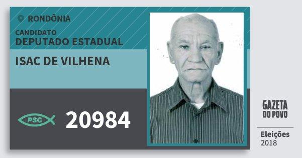 Santinho Isac de Vilhena 20984 (PSC) Deputado Estadual | Rondônia | Eleições 2018