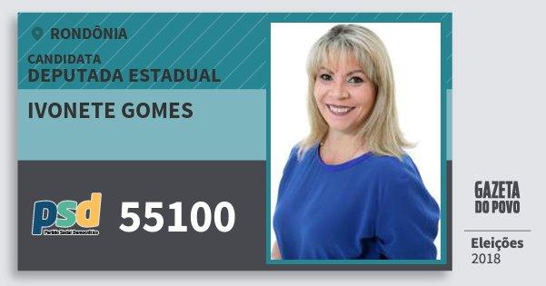 Santinho Ivonete Gomes 55100 (PSD) Deputado Estadual | Rondônia | Eleições 2018