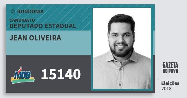 Santinho Jean Oliveira 15140 (MDB) Deputado Estadual   Rondônia   Eleições 2018