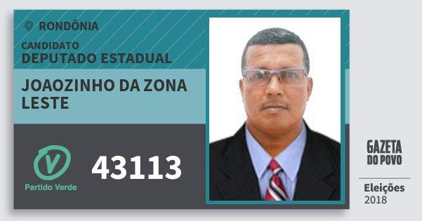 Santinho Joaozinho da Zona Leste 43113 (PV) Deputado Estadual | Rondônia | Eleições 2018
