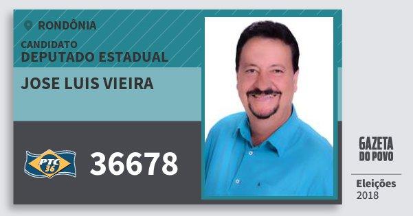 Santinho Jose Luis Vieira 36678 (PTC) Deputado Estadual | Rondônia | Eleições 2018