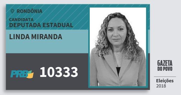 Santinho Linda Miranda 10333 (PRB) Deputado Estadual | Rondônia | Eleições 2018