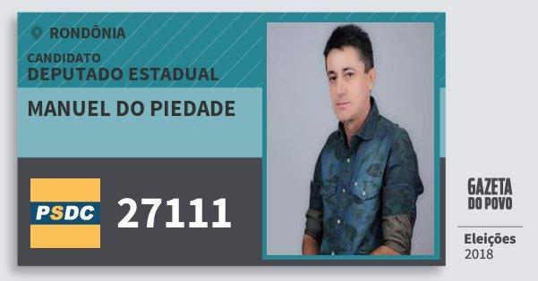 Santinho Manuel do Piedade 27111 (DC) Deputado Estadual   Rondônia   Eleições 2018