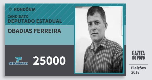 Santinho Obadias Ferreira 25000 (DEM) Deputado Estadual | Rondônia | Eleições 2018