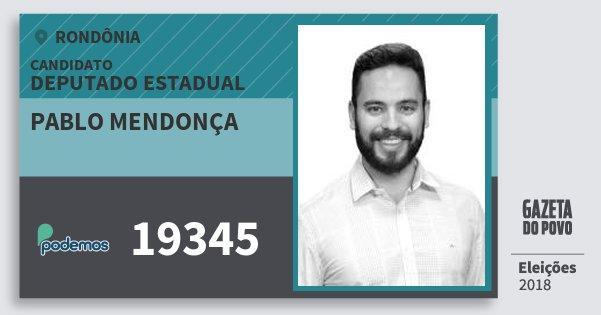 Santinho Pablo Mendonça 19345 (PODE) Deputado Estadual | Rondônia | Eleições 2018