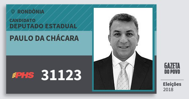 Santinho Paulo da Chácara 31123 (PHS) Deputado Estadual   Rondônia   Eleições 2018