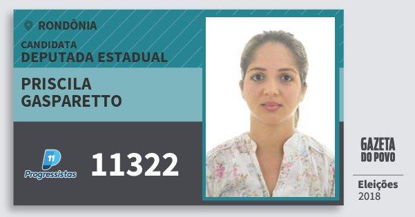 Santinho Priscila Gasparetto 11322 (PP) Deputado Estadual | Rondônia | Eleições 2018