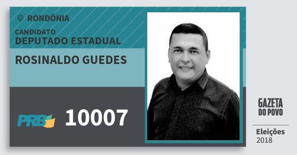 Santinho Rosinaldo Guedes 10007 (PRB) Deputado Estadual | Rondônia | Eleições 2018
