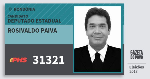Santinho Rosivaldo Paiva 31321 (PHS) Deputado Estadual | Rondônia | Eleições 2018