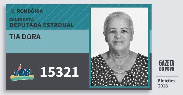 Santinho Tia Dora 15321 (MDB) Deputado Estadual | Rondônia | Eleições 2018
