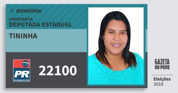 Santinho Tininha 22100 (PR) Deputado Estadual | Rondônia | Eleições 2018