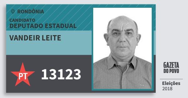 Santinho Vandeir Leite 13123 (PT) Deputado Estadual   Rondônia   Eleições 2018