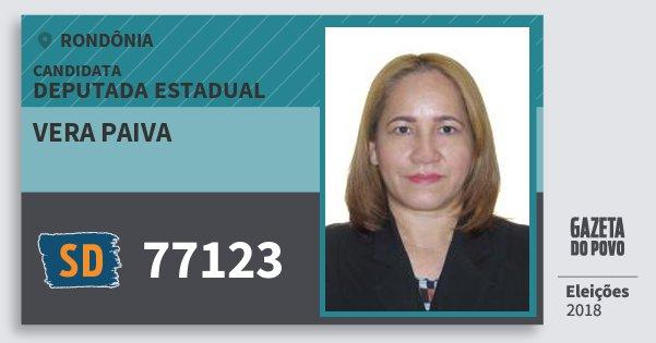 Santinho Vera Paiva 77123 (SOLIDARIEDADE) Deputado Estadual | Rondônia | Eleições 2018
