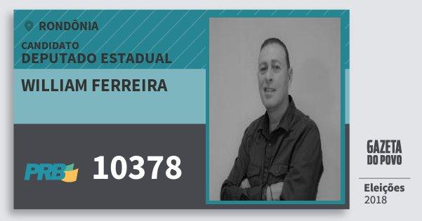 Santinho William Ferreira 10378 (PRB) Deputado Estadual   Rondônia   Eleições 2018