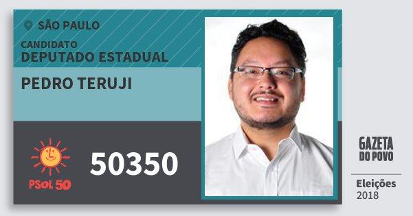 Santinho Pedro Teruji 50350 (PSOL) Deputado Estadual | São Paulo | Eleições 2018