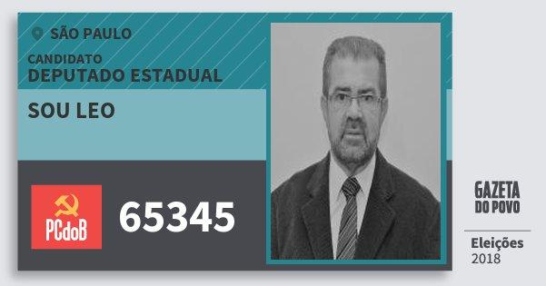 Santinho Sou Leo 65345 (PC do B) Deputado Estadual | São Paulo | Eleições 2018