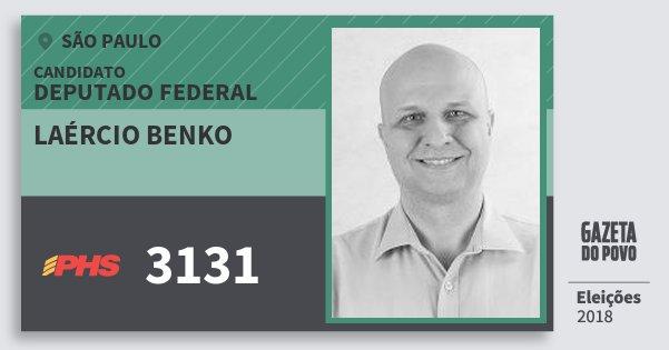 Santinho Laércio Benko 3131 (PHS) Deputado Federal   São Paulo   Eleições 2018