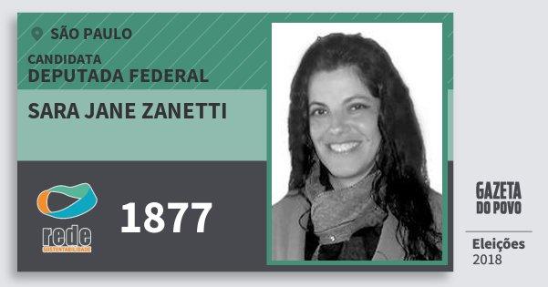 Santinho Sara Jane Zanetti 1877 (REDE) Deputado Federal | São Paulo | Eleições 2018