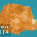 Mapa eleitoral da última votação para governador em 2014. Beto Richa (PSDB), hoje candidato ao Senado, foi reeleito no 1º turno, à frente de Requião (PMDB) e Gleisi (PT). Veja o desempenho de cada um por municípios do Paraná