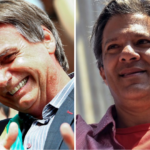 Jair Bolsonaro (PSL) e Fernando Haddad (PT), primeiros colocados no primeiro turno da eleição presidencial de 2018.