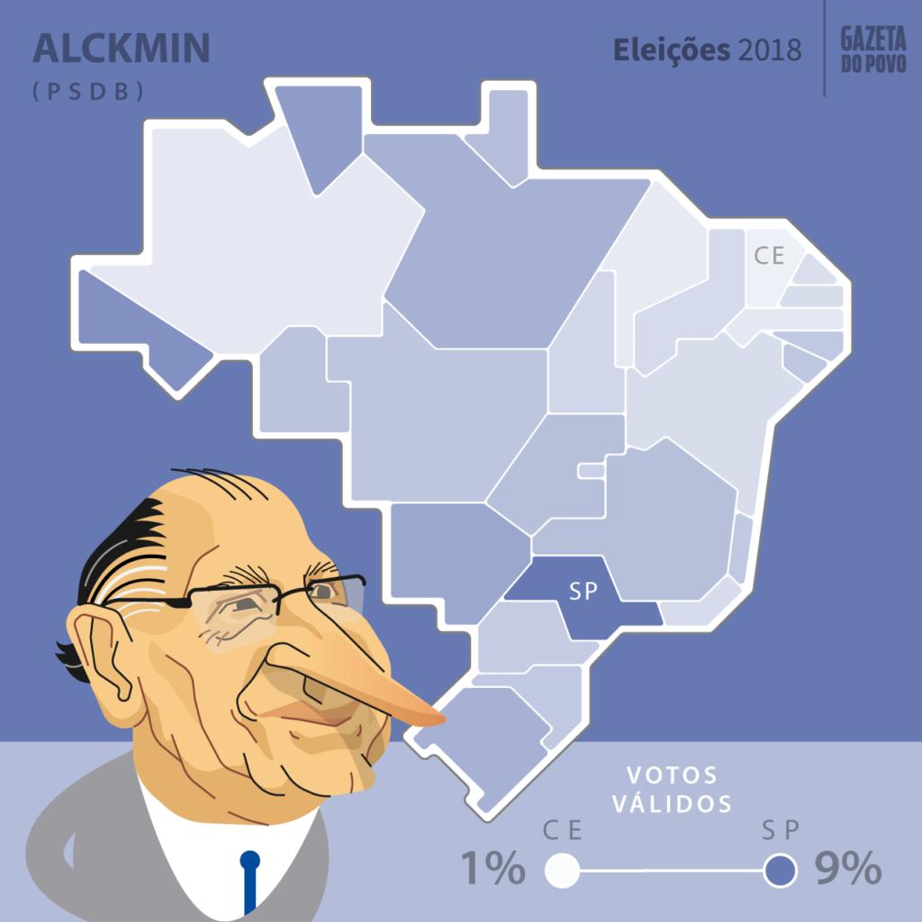 Mapa eleitoral: Presidente por estados | PR | Resultados | Eleições 2018 | Geraldo Alckmin (PSDB)