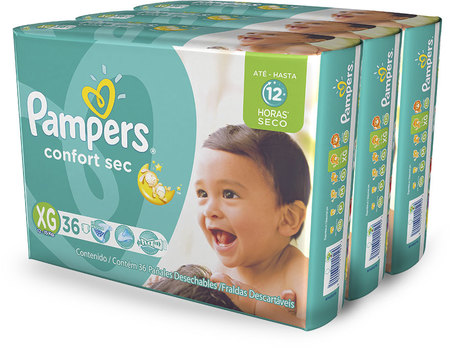 Pañales - Pampers Pañales Pampers Confort Sec XG x36 – 3 Packs