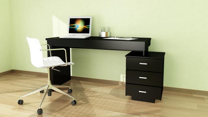 escritorio con 2 cajones negro avenida muebles