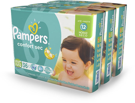 Pañales - Pampers Pañales Pampers Confort Sec XXG x36 – 3 Packs