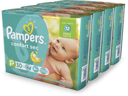 Pañales - Pampers Pañales Pampers Confort Sec P x30 – 4 Packs