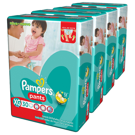 Pañales - Pampers Pack x 4 Pañales Pampers Pants 30 unid - Talle XG