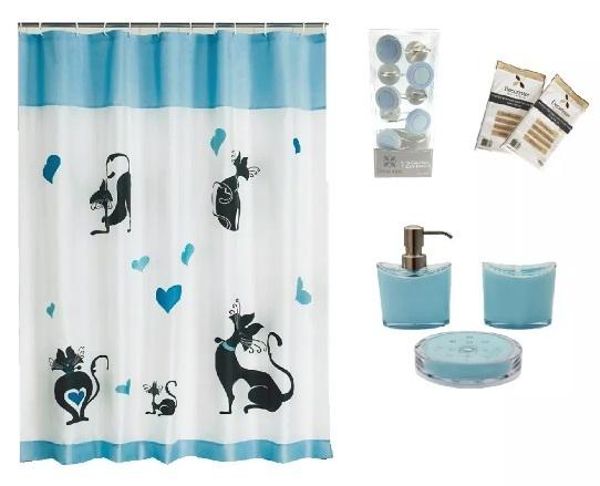 Avenida Decoracion Kit de baño Cats  cortina + protector + ganchos + set de  accesorios aa826d2095b9