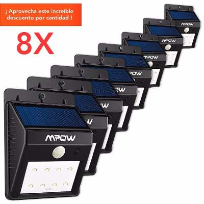 144 Shoes Pack X 8 Reflector Solar 8 Led Sensor Movimiento Jardin Luz