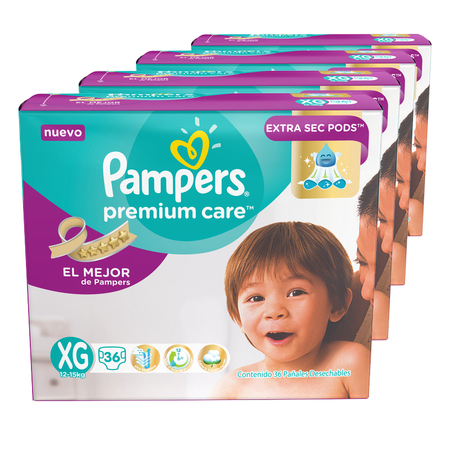 Pampers Pack x 4 Pañales Pampers Premium Care 36 unid - Talle XG