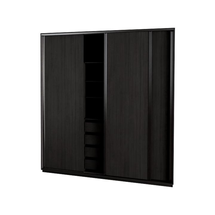 Placard con 3 puertas corredizas con 4 cajones y perfiles for Perfiles aluminio para muebles