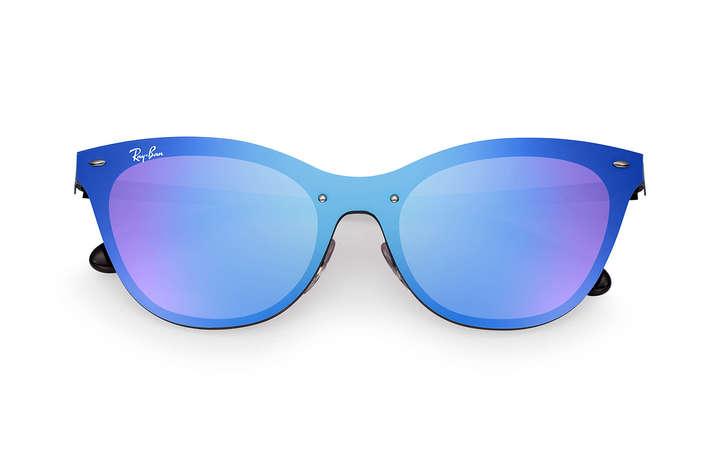 7a4211039df58 Ray Ban Lentes de Sol Ray Ban Blaze Cat Eye Negro Azul Espejado