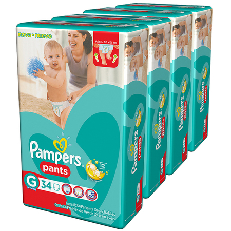 Pampers Pack x 4 Pañales Pampers Pants 34 unid - Talle Grande
