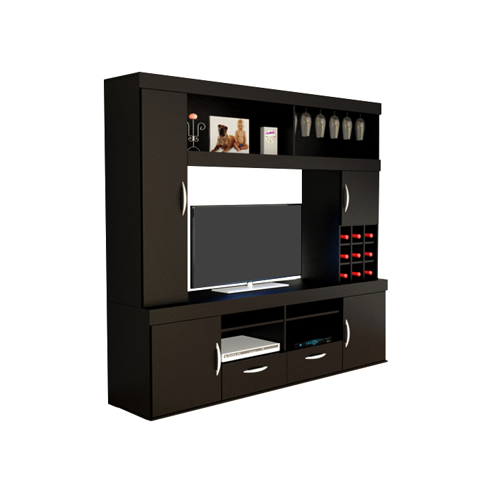 Rack modular para tv negro avenida muebles for Modelos de muebles para tv