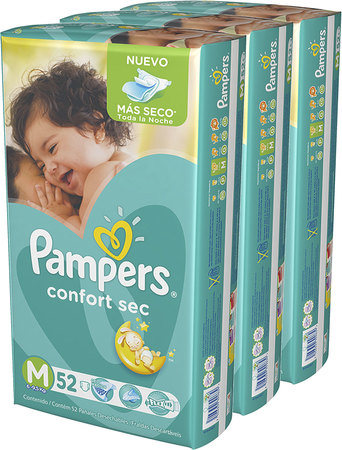 Toallitas - Pampers Pañales Pampers Confort Sec M x52 – 3 Packs