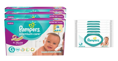 Pampers  COMBO PAMPERS PREMIUM CARE 46 UNID X3 (TALLE G) + 6 PACKS TOALLITAS SENSITIVE 56 UNID