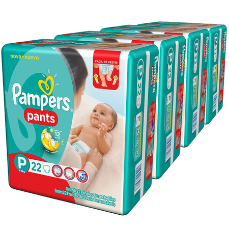 Pampers Pack x 4 Pañales Pampers Pants 22 unid - Talle Pequeño