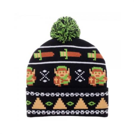3f75ce489b3 Legend of Zelda 8 Bit Fair Isle Pom Beanie for Gamer Apparel ...