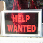 Help wanted sign closeup