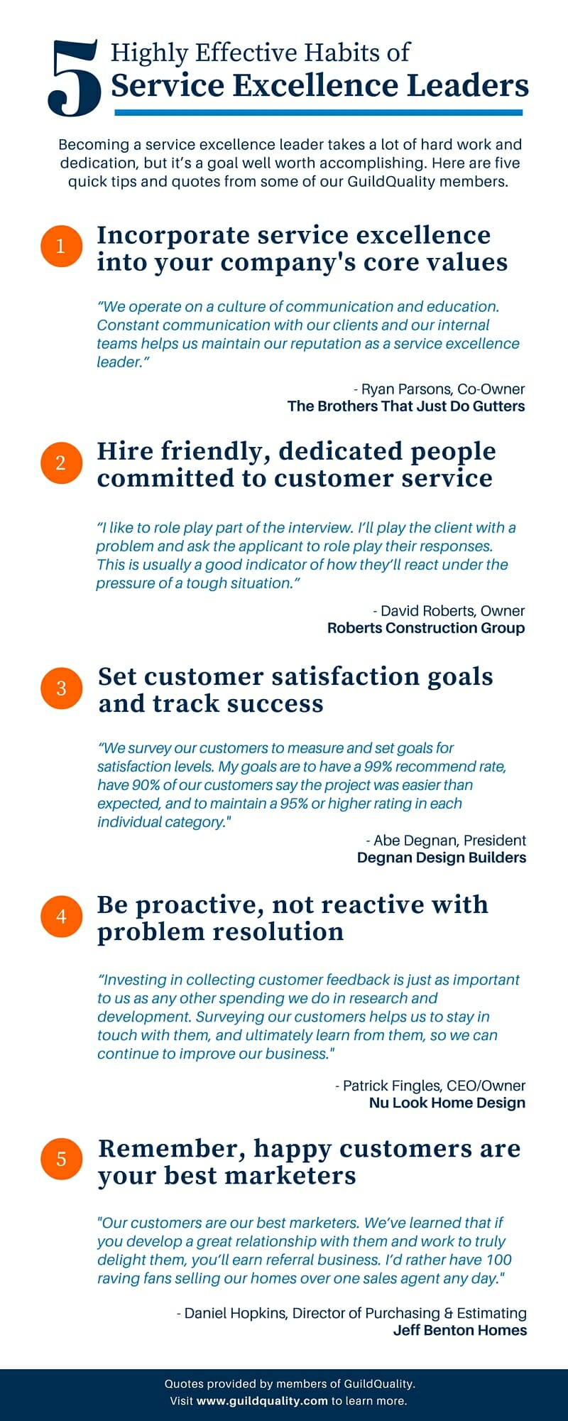 5 Highly Effective Habits of Service Excellence Leaders - Infographic