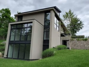 Side view of mid-century modern home exterior