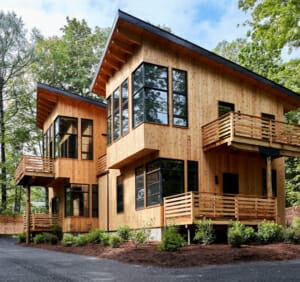 Exterior of contemporary home clad in cedar siding