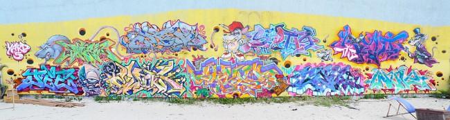 Fresques Par Cope2, Indie 184, T-kid, Ewok, Cren, Jee, Blen 167, Scotty 56 - Berlin (Allemagne)