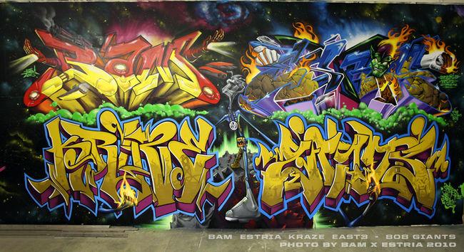 Fresques Par Estria, Bam, Kraze, East3 - Oakland (CA)